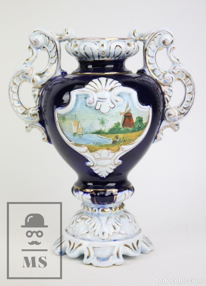 Antigüedades: Jarrón Porcelana Vidriada Botet Mas - Decoración Pintada a Mano - Azul Cobalto - Primera Mitad S. XX - Foto 7 - 108708387