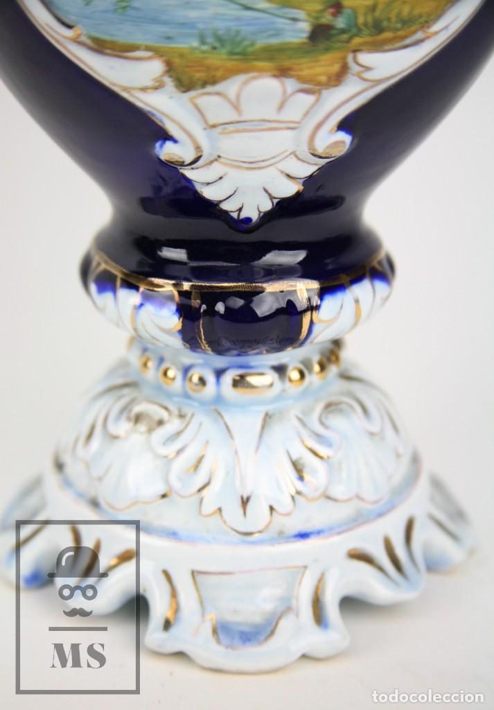 Antigüedades: Jarrón Porcelana Vidriada Botet Mas - Decoración Pintada a Mano - Azul Cobalto - Primera Mitad S. XX - Foto 8 - 108708387