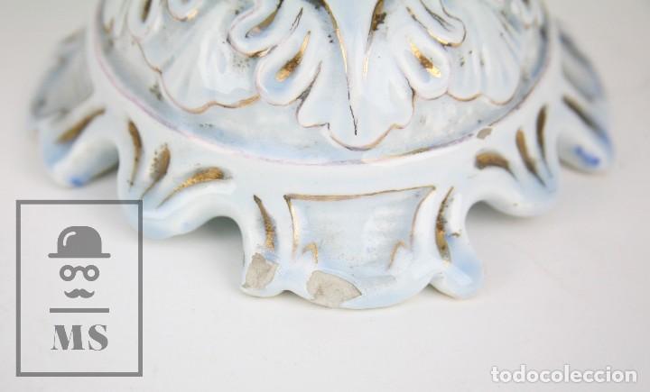 Antigüedades: Jarrón Porcelana Vidriada Botet Mas - Decoración Pintada a Mano - Azul Cobalto - Primera Mitad S. XX - Foto 9 - 108708387