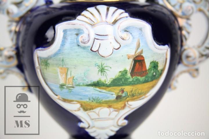 Antigüedades: Jarrón Porcelana Vidriada Botet Mas - Decoración Pintada a Mano - Azul Cobalto - Primera Mitad S. XX - Foto 10 - 108708387