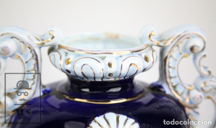 Antigüedades: Jarrón Porcelana Vidriada Botet Mas - Decoración Pintada a Mano - Azul Cobalto - Primera Mitad S. XX - Foto 11 - 108708387