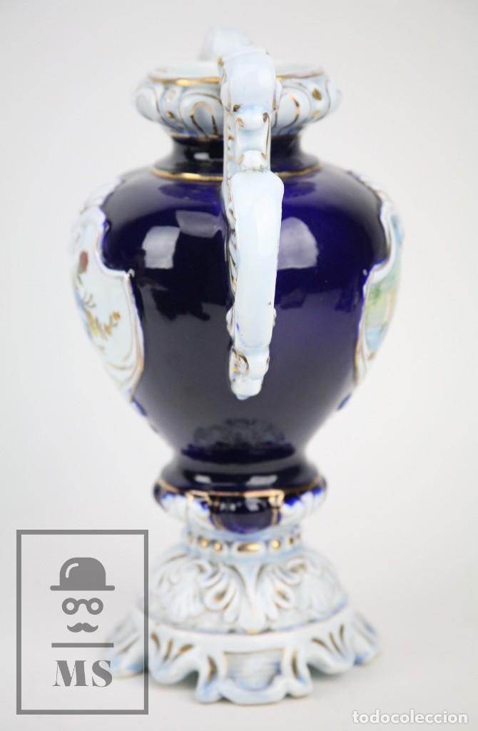 Antigüedades: Jarrón Porcelana Vidriada Botet Mas - Decoración Pintada a Mano - Azul Cobalto - Primera Mitad S. XX - Foto 12 - 108708387