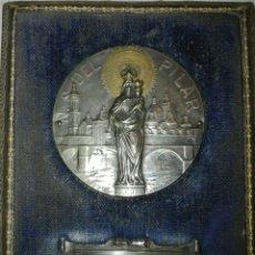 Antigüedades: CUADRO DE LA VIRGEN DEL PILAR EN PLATA Y CORONA EN ORO. FIRMA LAVRILLIER.. Lote 108762990