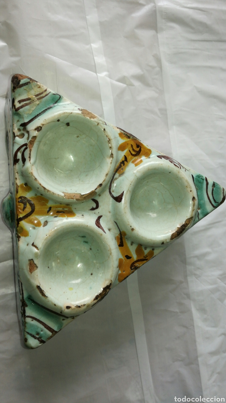 TINTERO O ESPECIERO ANTIGUO JM / (Antigüedades - Porcelanas y Cerámicas - Talavera)