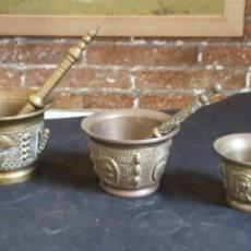 Antigüedades: LOTE DE 5 MORTEROS DE BRONCE. Lote 139905581