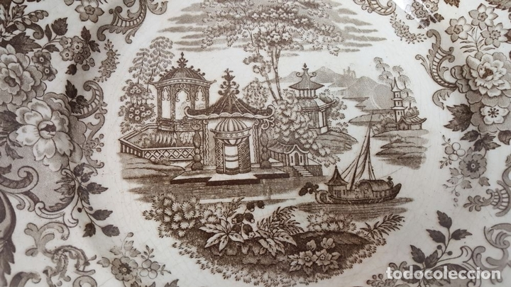 Antigüedades: PLATO DE PORCELANA. ESTAMPADO SERIE ORIENTAL. PICKMAN. SEVILLA. SIGLO XIX-XX. - Foto 5 - 108788631