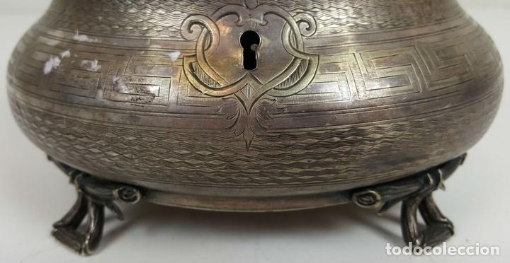 Antigüedades: JOYERO DE ALPACA PLATEADA. ESTILO BARROCO. SIGLO XX. - Foto 2 - 108790139