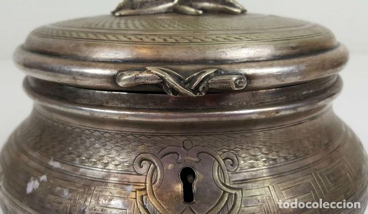 Antigüedades: JOYERO DE ALPACA PLATEADA. ESTILO BARROCO. SIGLO XX. - Foto 4 - 108790139