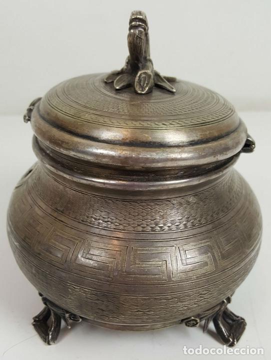 Antigüedades: JOYERO DE ALPACA PLATEADA. ESTILO BARROCO. SIGLO XX. - Foto 6 - 108790139