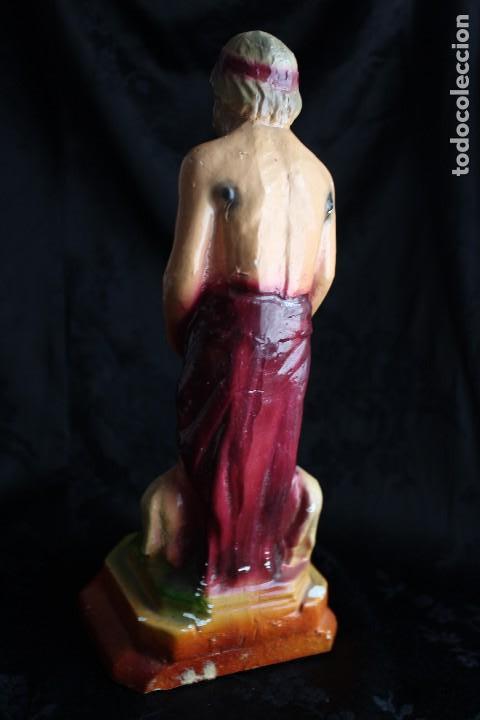Antigüedades: FIGURA SAN LAZARO EN ESTUCO POLICROMADO 23,5 cm - Foto 2 - 108807759