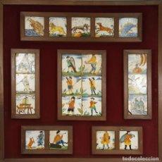 Antigüedades: COMPOSICIÓN DE 21 AZULEJOS DE OFICIOS. CERÁMICA CATALANA. SIGLO XVIII. . Lote 108808603