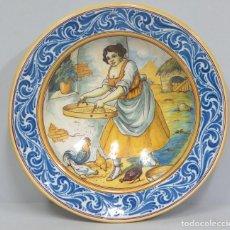 Antigüedades: GRAN PLATO DE CERAMICA DE RUIZ DE LUNA. DULCINEA DEL TOBOSO. TALAVERA. Lote 108820559