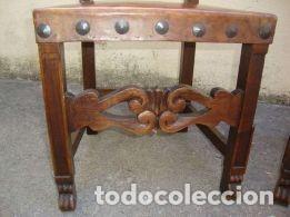 Antigüedades: 2 - Sillas de Cuero con clavos de metal, antiguas en muy buen estado - 1940 - Foto 11 - 108825315