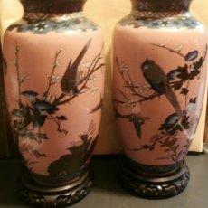 Antigüedades: PAREJA DE JARRONES JAPONESES CLOISONNE S.XIX. Lote 108854919
