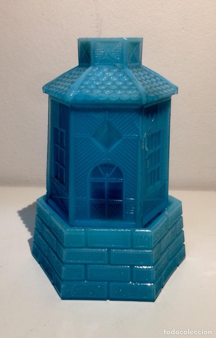 Antigüedades: Porta velas molino en opalina azul, años 30 del siglo XX. - Foto 2 - 108867532