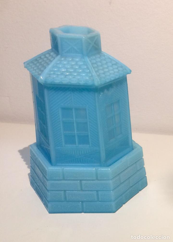 Antigüedades: Porta velas molino en opalina azul, años 30 del siglo XX. - Foto 3 - 108867532