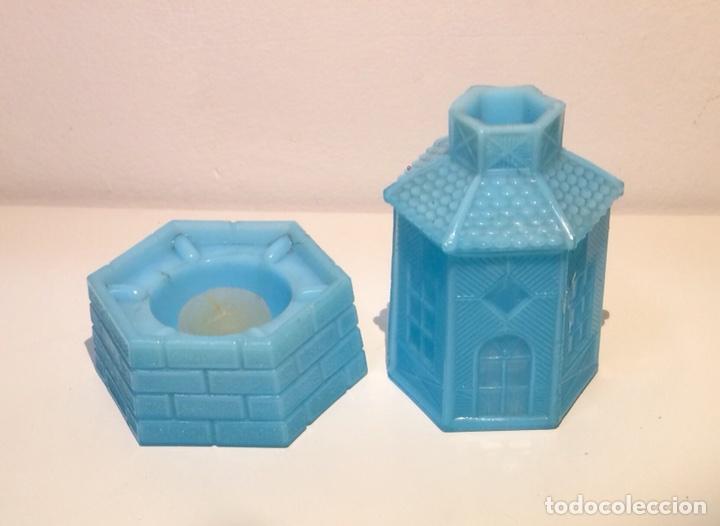 Antigüedades: Porta velas molino en opalina azul, años 30 del siglo XX. - Foto 4 - 108867532