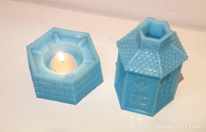 Antigüedades: Porta velas molino en opalina azul, años 30 del siglo XX. - Foto 6 - 108867532