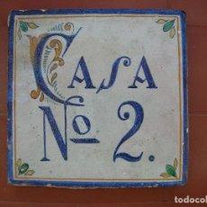Antigüedades: AZULEJO DE TRIANA SIGLO XVIII-XIX.CASA Nº 2.TAMAÑO: 19 X 19,5 CTMS.. Lote 108881947