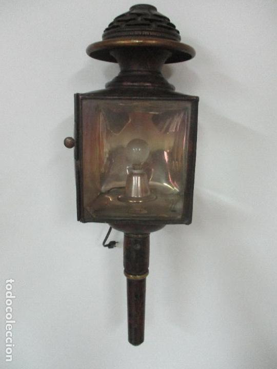Antigüedades: Antiguo Faro de Carruaje - Farol - Coche de Caballos - Marca Ducellier & Cia, París - S. XVIII - XIX - Foto 3 - 108903567