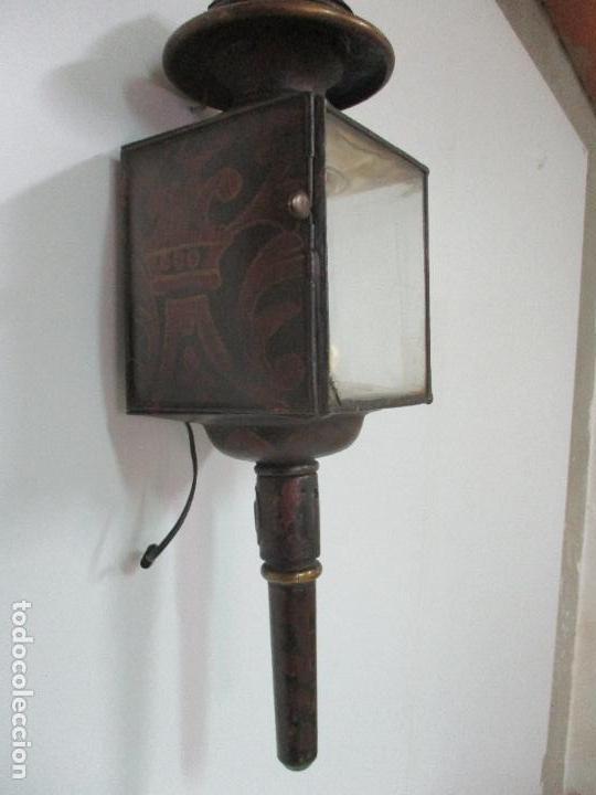 Antigüedades: Antiguo Faro de Carruaje - Farol - Coche de Caballos - Marca Ducellier & Cia, París - S. XVIII - XIX - Foto 12 - 108903567
