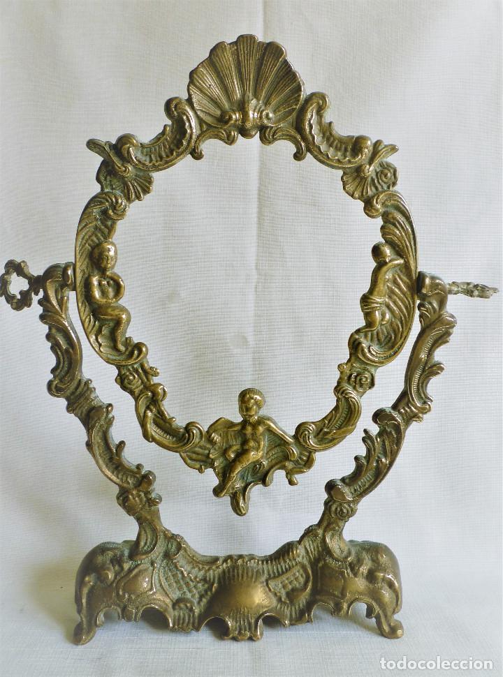 MARCO DE BRONCE DE MESA GIRATORIO MUY ORNAMENTADO (Antigüedades - Hogar y Decoración - Marcos Antiguos)