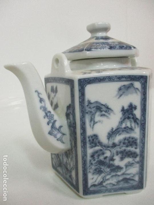 Antigüedades: Bonita Cafetera China - Porcelana - con Decoración Oriental - S. XX - Foto 3 - 108907535