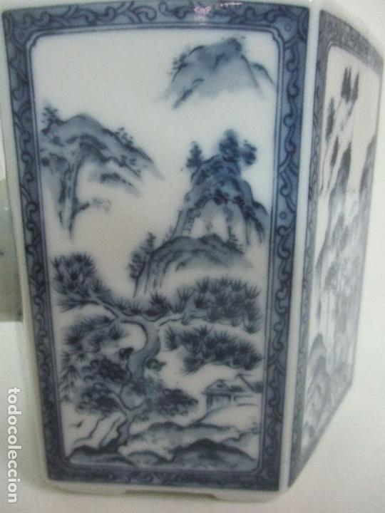 Antigüedades: Bonita Cafetera China - Porcelana - con Decoración Oriental - S. XX - Foto 5 - 108907535