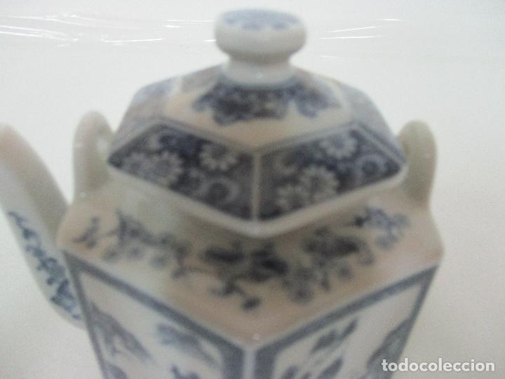 Antigüedades: Bonita Cafetera China - Porcelana - con Decoración Oriental - S. XX - Foto 8 - 108907535