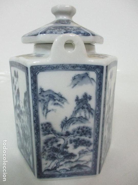 Antigüedades: Bonita Cafetera China - Porcelana - con Decoración Oriental - S. XX - Foto 9 - 108907535