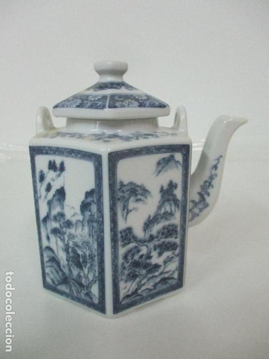 Antigüedades: Bonita Cafetera China - Porcelana - con Decoración Oriental - S. XX - Foto 10 - 108907535