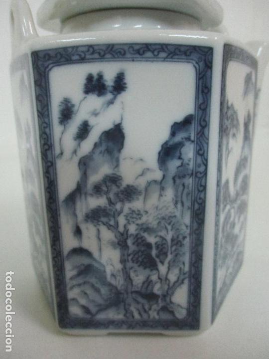 Antigüedades: Bonita Cafetera China - Porcelana - con Decoración Oriental - S. XX - Foto 11 - 108907535