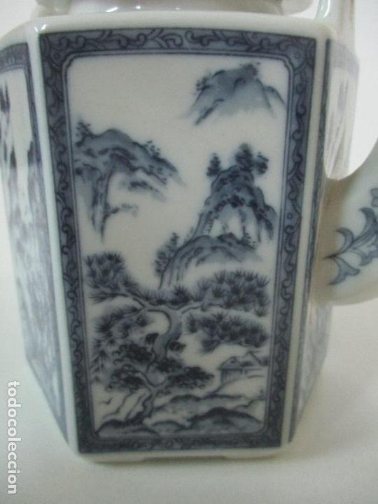 Antigüedades: Bonita Cafetera China - Porcelana - con Decoración Oriental - S. XX - Foto 12 - 108907535