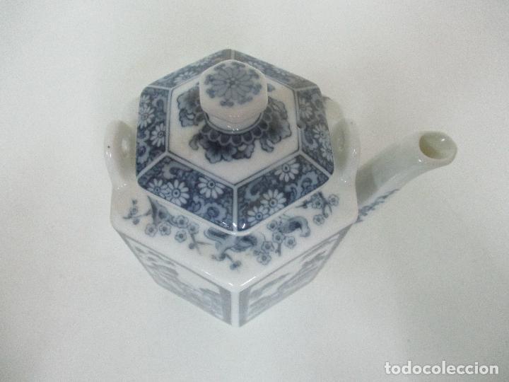 Antigüedades: Bonita Cafetera China - Porcelana - con Decoración Oriental - S. XX - Foto 13 - 108907535