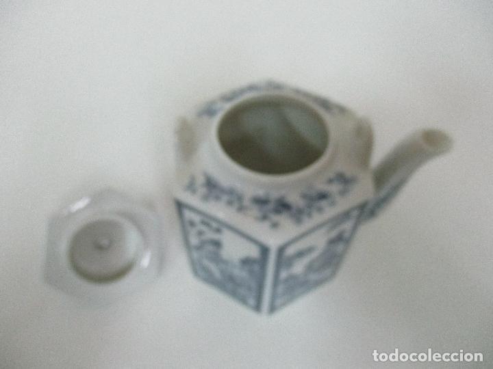 Antigüedades: Bonita Cafetera China - Porcelana - con Decoración Oriental - S. XX - Foto 14 - 108907535