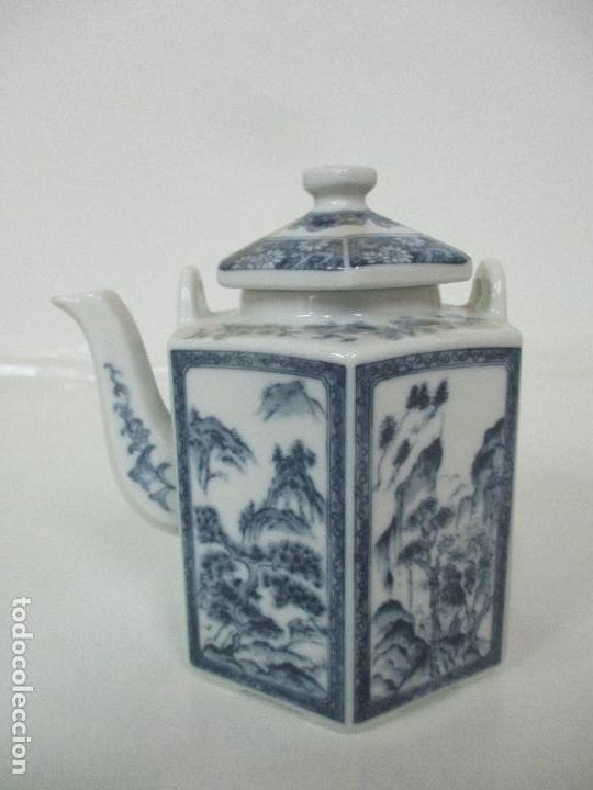 Antigüedades: Bonita Cafetera China - Porcelana - con Decoración Oriental - S. XX - Foto 16 - 108907535
