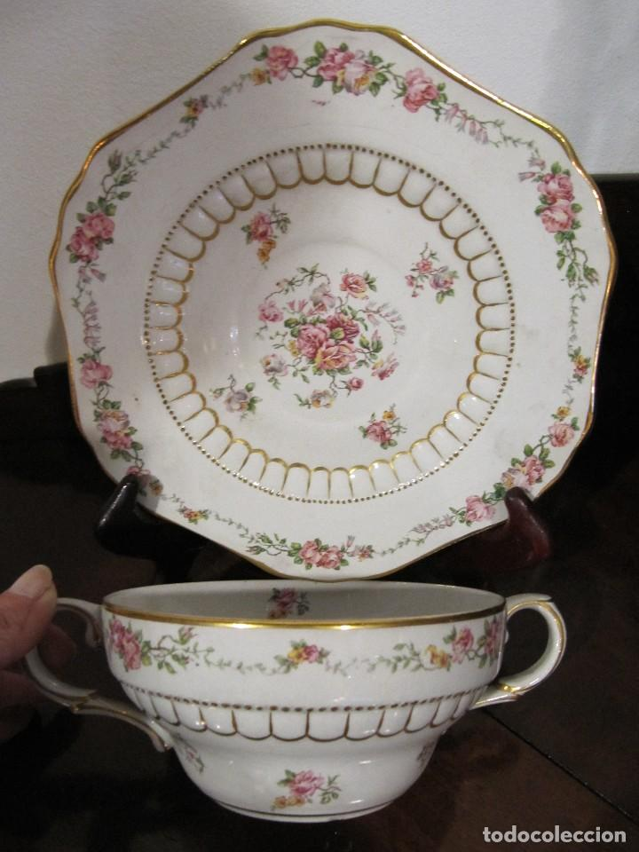ANTIGUA TAZA Y PLATO - CHINA OPACA SANTANDER IT (Antigüedades - Porcelanas y Cerámicas - Otras)