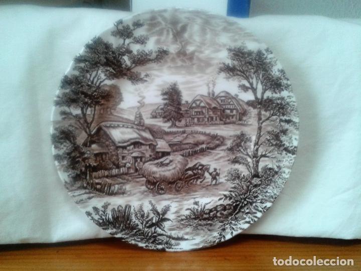 PLATO RIDGWAY IRONSTONE - EST. 1792 STAFFORDSHIRE ' HAYRIDE ' ENGLAND. (Antigüedades - Porcelanas y Cerámicas - Inglesa, Bristol y Otros)
