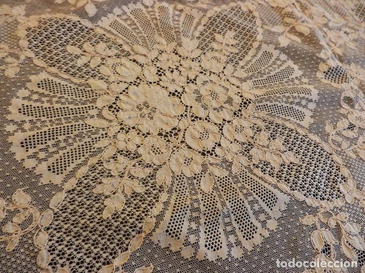 Antigüedades: Fantástico panel, mantelería mantel cubre mesa u otros usos en Alençon antiguo. Años 20. - Foto 5 - 108981807