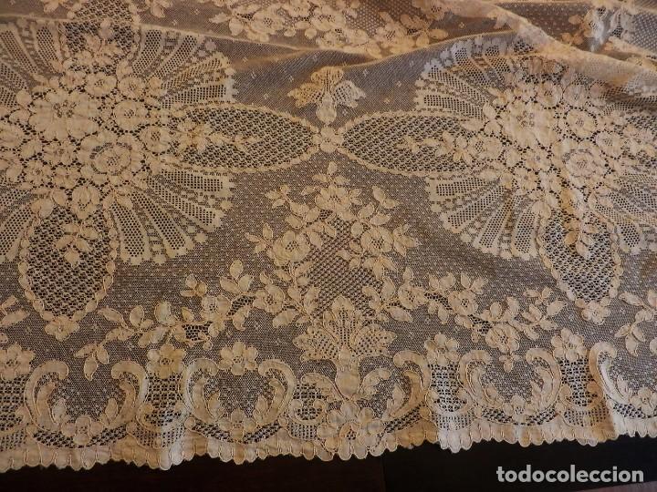 Antigüedades: Fantástico panel, mantelería mantel cubre mesa u otros usos en Alençon antiguo. Años 20. - Foto 8 - 108981807
