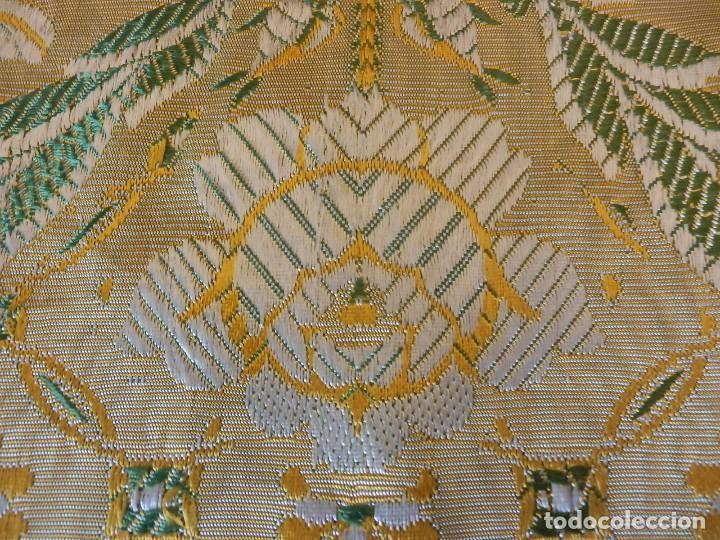 Antigüedades: Preciosa colcha de seda brocada oro viejo verde agua, años 1900 - Foto 6 - 108982715