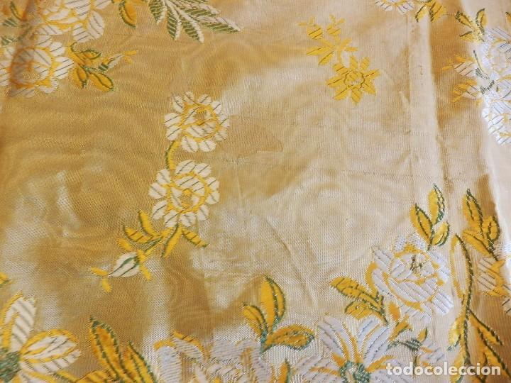 Antigüedades: Preciosa colcha de seda brocada oro viejo verde agua, años 1900 - Foto 10 - 108982715