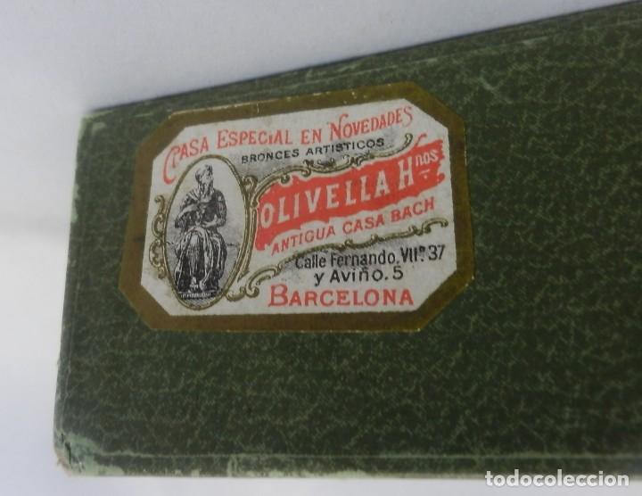 Antigüedades: Precioso abanico 1880 en hueso, pintado a mano, en caja de origen, Bruno Barcelona. - Foto 5 - 108989419