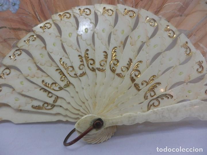 Antigüedades: Precioso abanico 1880 en hueso, pintado a mano, en caja de origen, Bruno Barcelona. - Foto 7 - 108989419