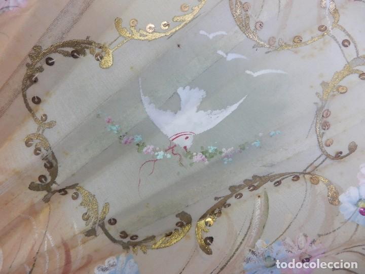 Antigüedades: Precioso abanico 1880 en hueso, pintado a mano, en caja de origen, Bruno Barcelona. - Foto 10 - 108989419