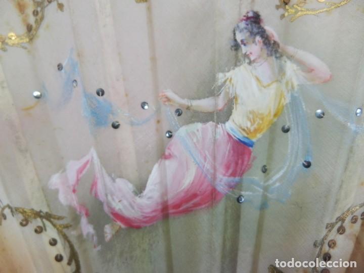 Antigüedades: Precioso abanico 1880 en hueso, pintado a mano, en caja de origen, Bruno Barcelona. - Foto 11 - 108989419