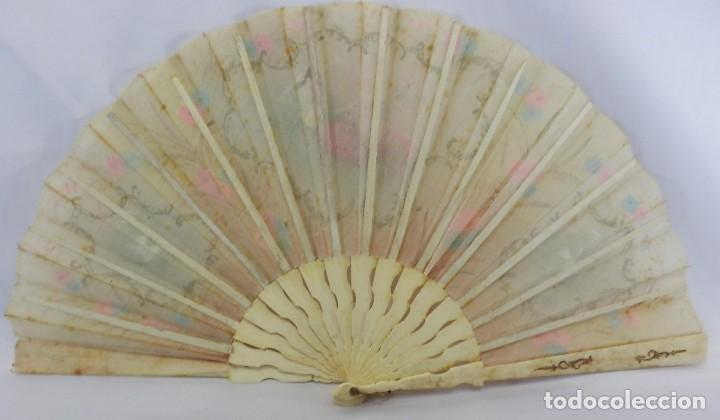 Antigüedades: Precioso abanico 1880 en hueso, pintado a mano, en caja de origen, Bruno Barcelona. - Foto 13 - 108989419