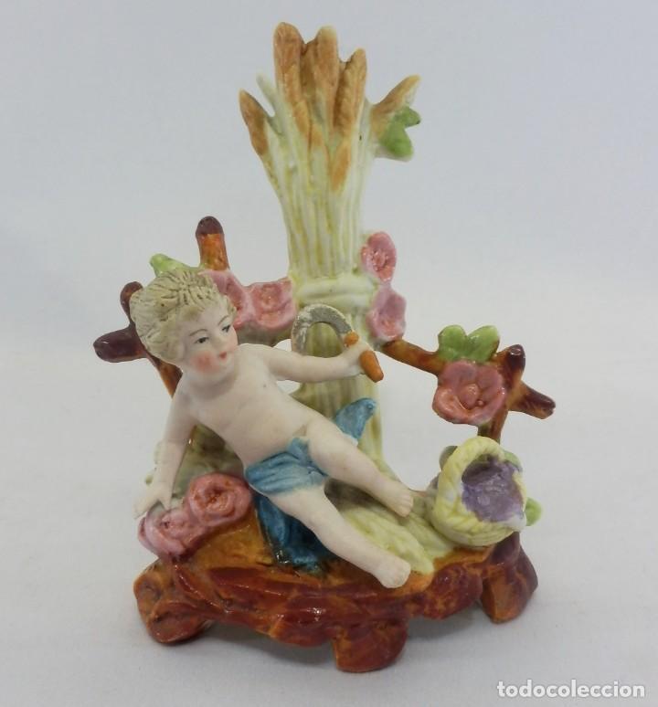 Antigüedades: Bisque de colección, Niña en escena de recolección. s XIX porcelana biscuit figura - Foto 2 - 108991295