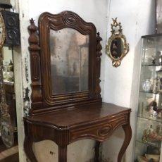 Antigüedades: CONSOLA CON ESPEJO DE CAOBA.. Lote 108997206