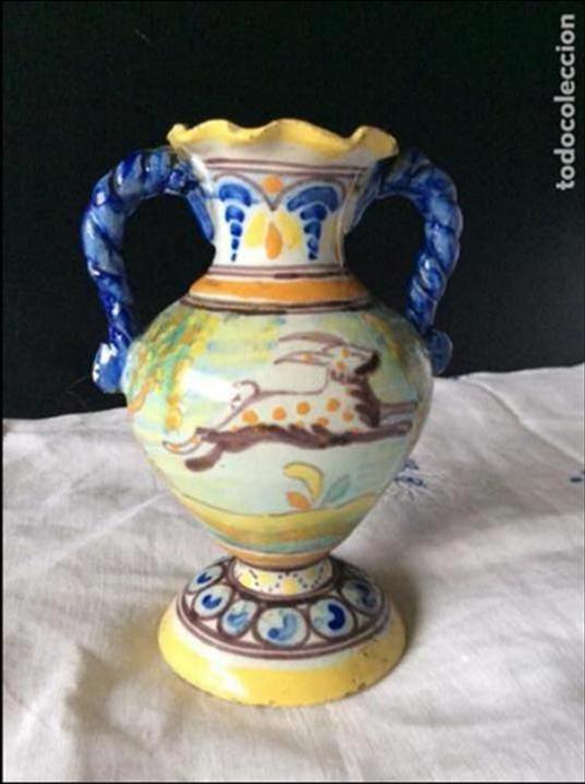 Antigüedades: TALAVERA ,ANTIGUO JARRÓN DE NIVERIO, - Foto 2 - 109002523